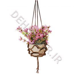 صنایع دستی - گلدان آویز چرم طبیعی