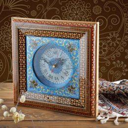 صنایع دستی - ساعت چهارگوش خاتم کاری