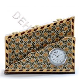 صنایع دستی - جا قلمی ترنجی دوبل ساعت دار