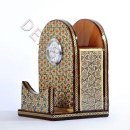 صنایع دستی - جاقلمی کلبه ای جاکارتی ساعت دار خاتم کاری