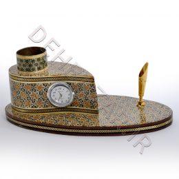 صنایع دستی - جاقلمی خاتم کاری ساعت دار ترمه