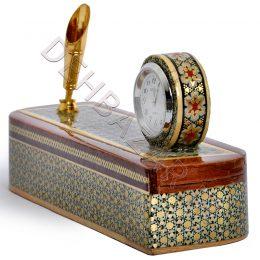 صنایع دستی - قلمدان ساعت دار خاتم کاری پرسیم