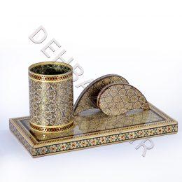 صنایع دستی - جاقلمی جا کارتی ترنجی خاتم کاری