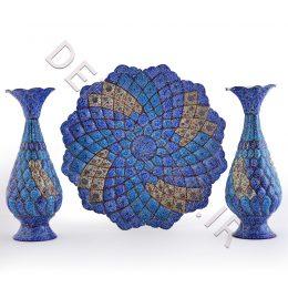 پک 3 تیکه بشقاب و گلدان مینا کاری - صنایع دستی