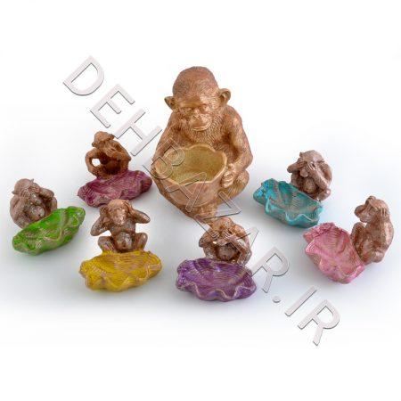 ست هفت سین سفالی میمون - صنایع دستی
