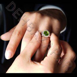 انگشتر نقره مردانه نگین دایرهای- سبزرنگ