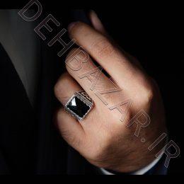انگشتر نقره مردانه نگین مستطیلی-مشکی