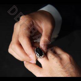 انگشتر نقره مردانه بیضی-مشکی رنگ