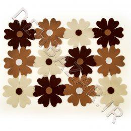 رومیزی نمدی طرح چند گل قهوهای