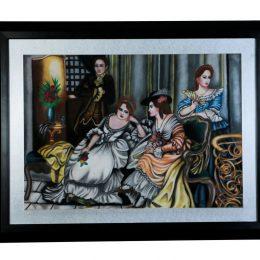 قاب نقاشی پاستیل گچی بزم زنان