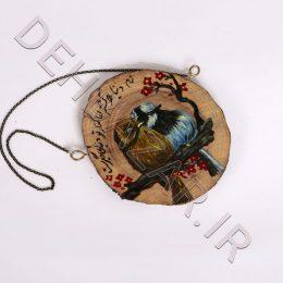 نقاشی روی چوب طرح دو پرنده عاشق