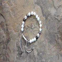 دستبند مهرهای دخترانه سفید بندی