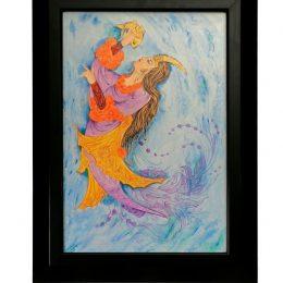 قاب نقاشی مینیاتوری طرح منظره و زن