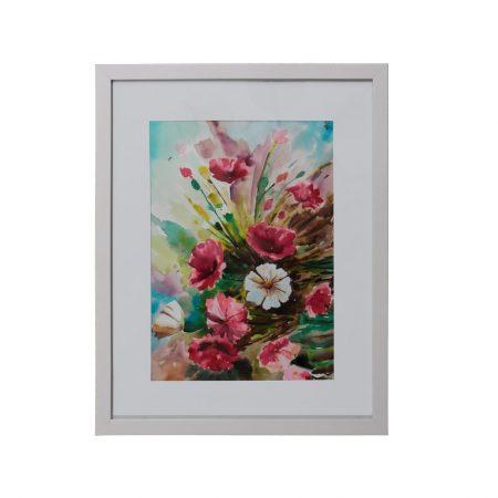 قاب آبرنگ طرح گلهای رنگارنگ