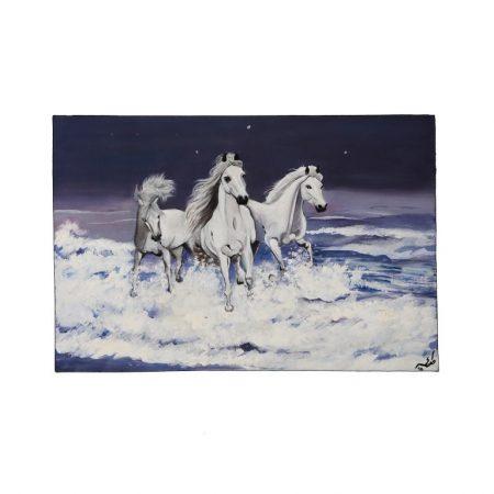 قاب آبرنگ طرح اسبهای سفید