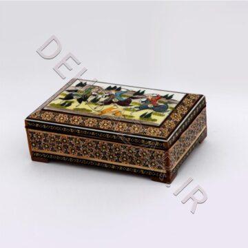 جعبه جواهر خاتمکاری استخوانی تو جیر نقاشی
