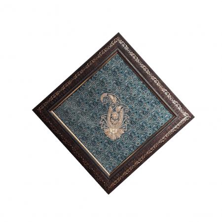 قاب سرمهدوزی لوزی سبز آبی مدل قهر و آشتی گلدار