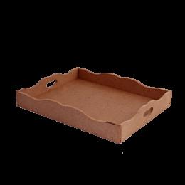 ظرف خام چوبی سینی با لبه طرحدار